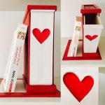 Suport pentru Cărți cu sertar pentru Semne - roșu vintag și roșu aprins