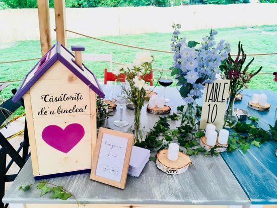 mokko - Casă din Lemn pentru dar de nuntă - nuanțe de mov