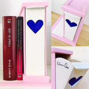 Suport pentru Cărți cu sertar pentru Semne - roz și albastru marin