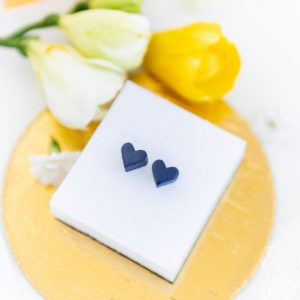 Cercei Cu Inima La Purtator - Albastru Perlat