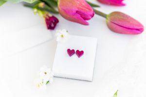 Cercei Cu Inima La Purtator - Roz Magenta