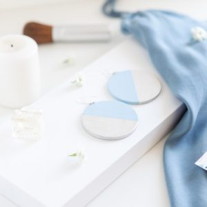 Cercei MOON by Mokko - Argintiu Deschis (Alb Perlat) și Bleu Pastel